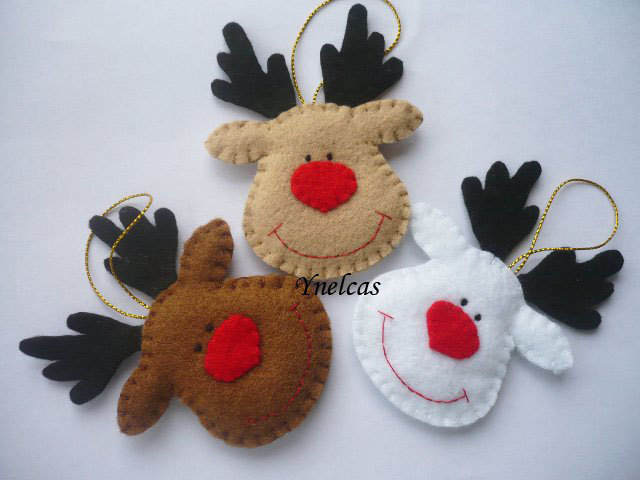 Rudolph The Red Nosed Reindeer Felt Christmas Ornament Set Of 3