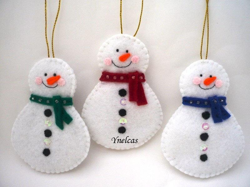 snowman felt christmas ornament set of 3